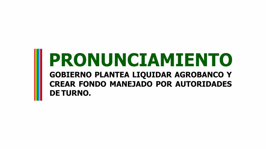 GOBIERNO PLANTEA LIQUIDAR AGROBANCO Y CREAR FONDO MANEJADO POR AUTORIDADES DE TURNO