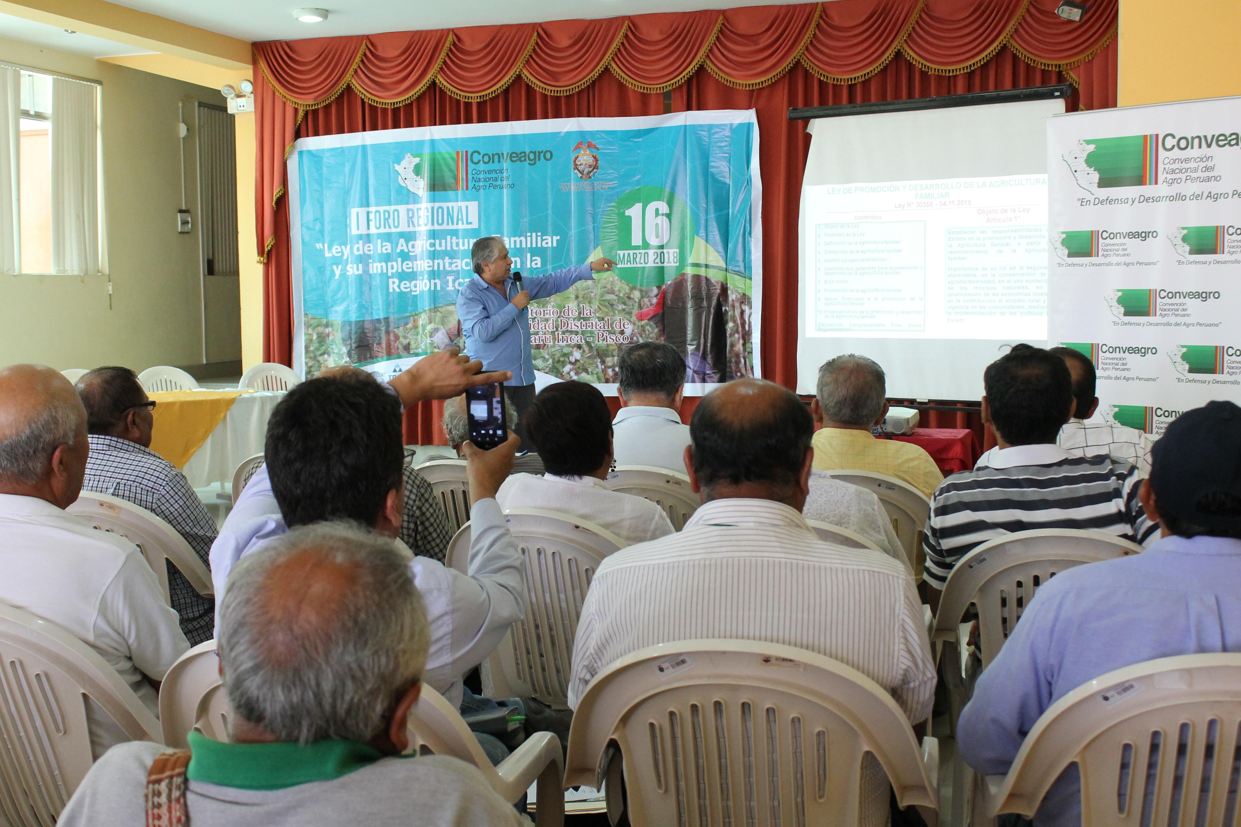 I FORO REGIONAL: «Ley de Agricultura Familiar y su Implementacion en la Region Ica – Lima.